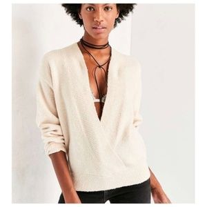 Silence and noise faux wrap sweater